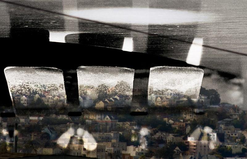 Composite: san francisco landscape african drum