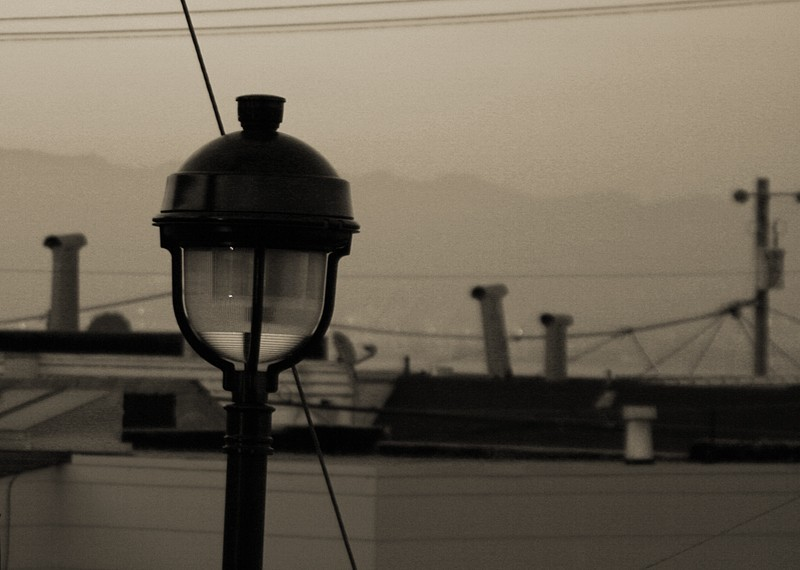 Streetlight toned at dusk.
