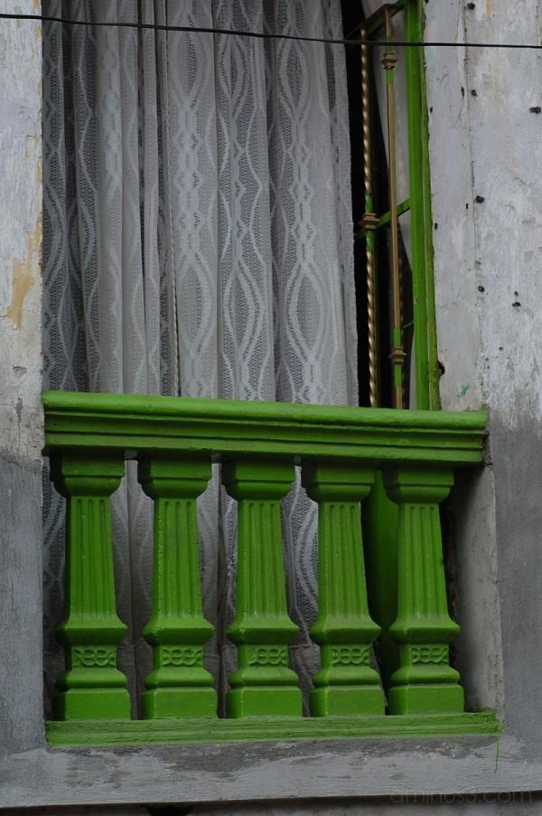 Green window in town
