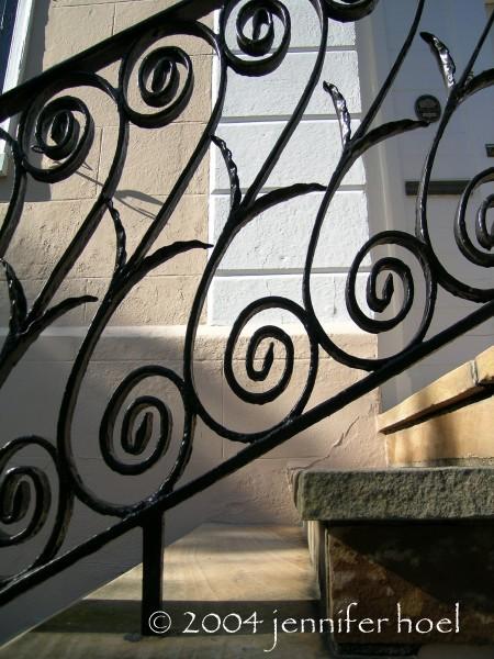 Sunlight on stairs in Charleston, South Carolina