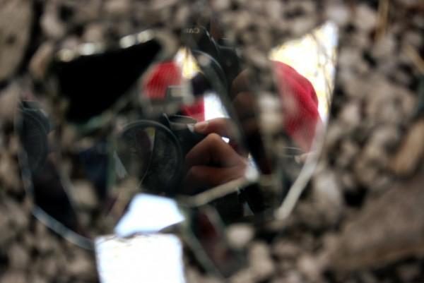 broken mirror reflection