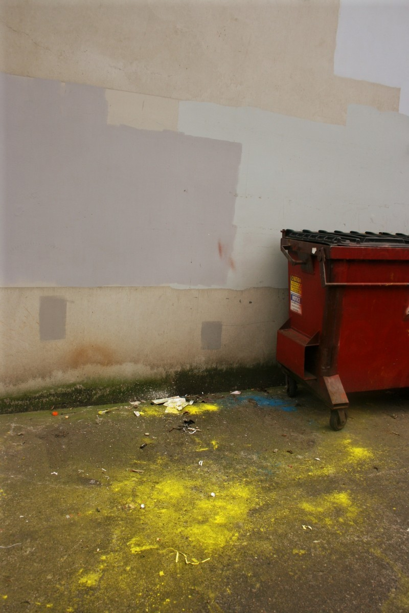 dumpster and old paint