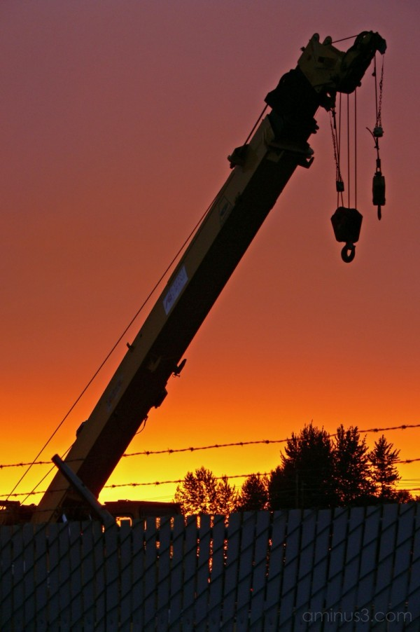 sunset on factory yard