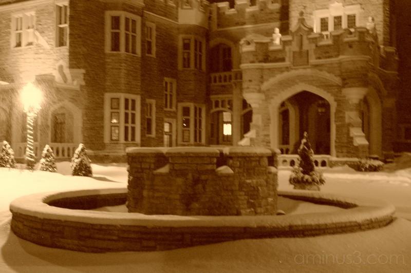 fountain, snow, casa loma