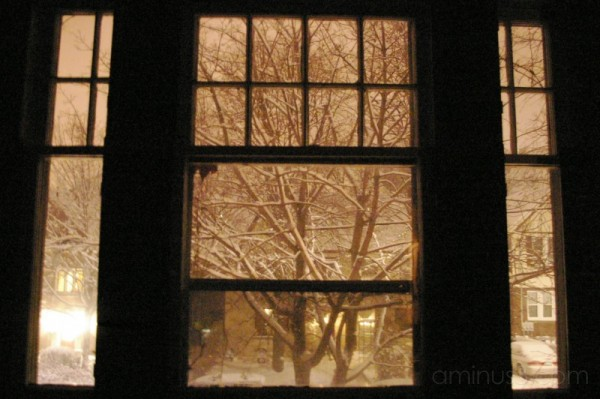 winter night snow window