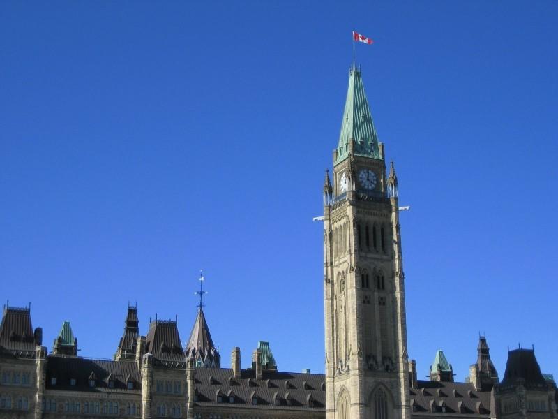 Parliament, Tower, and a blue sky