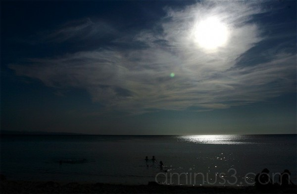 beach scape before night falls
