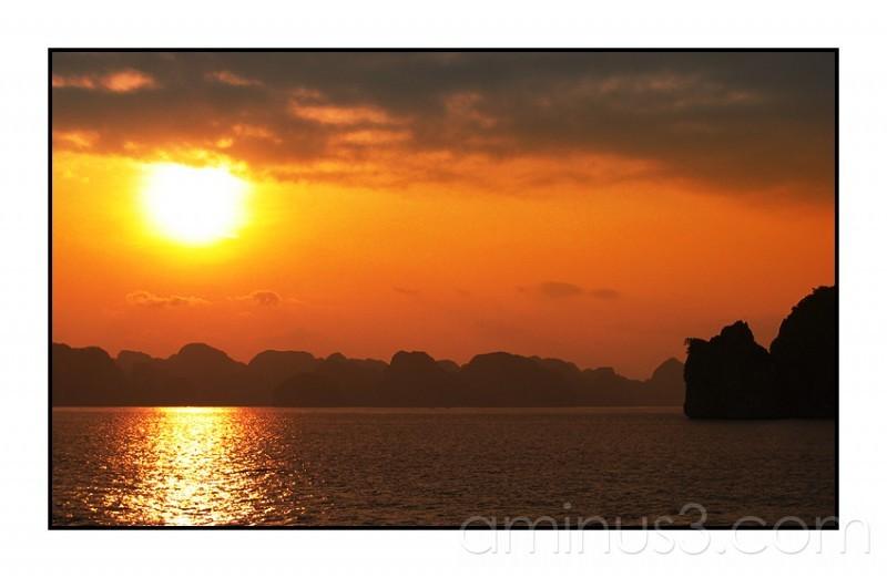Sunrise over Halong Bay, Vietnam.