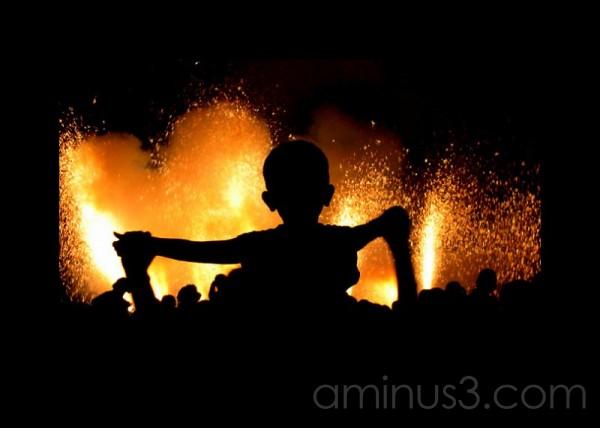 Japanese fireworks silhouette
