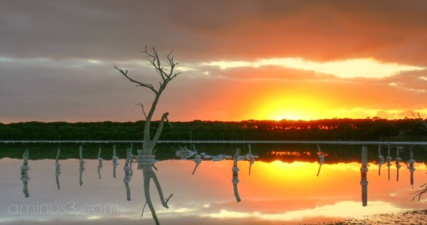 Sunrise over a salt lagoon on Kangaroo Island