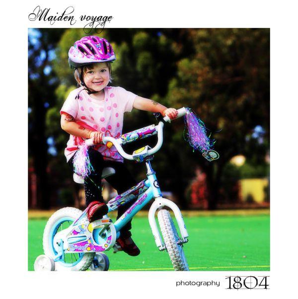 Photo of a girl on a bike