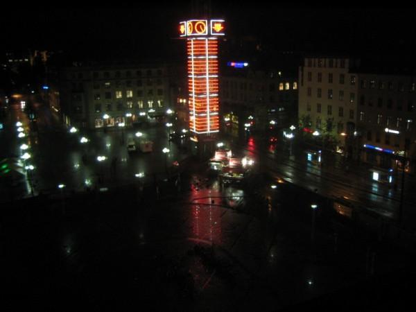 Wet autumn night in the capital