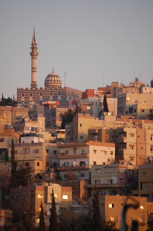 The sun sets on a Mosque in Amman, Jordan