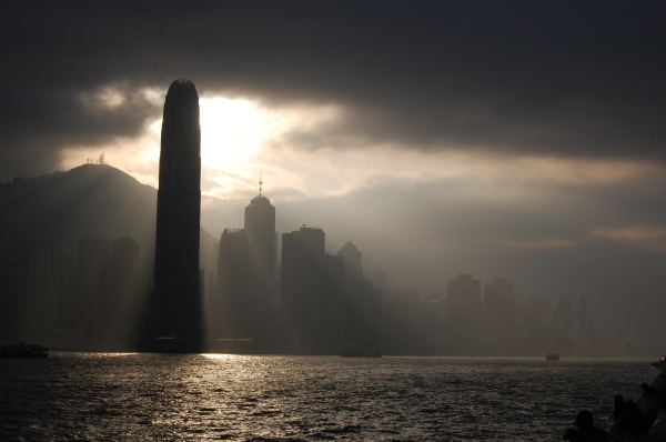 A dramatic view of IFC in Hong Kong
