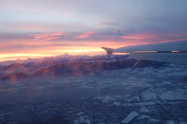 Sunrise shot while flying out of Geneva