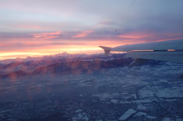 Sunrise shot while flying out of Geneva