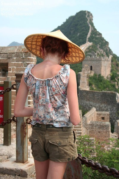 A girl with bamboo hat