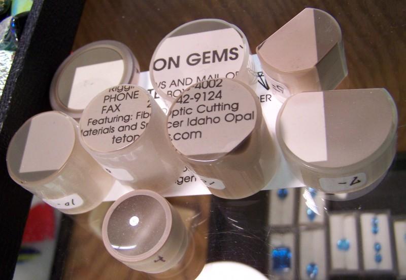A set of fiber optics on a business card