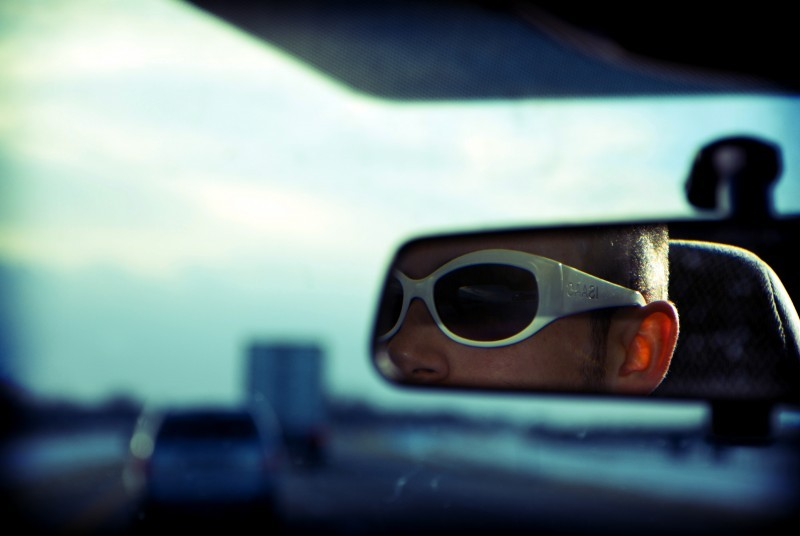 Mark Grapengater in the rear view mirror