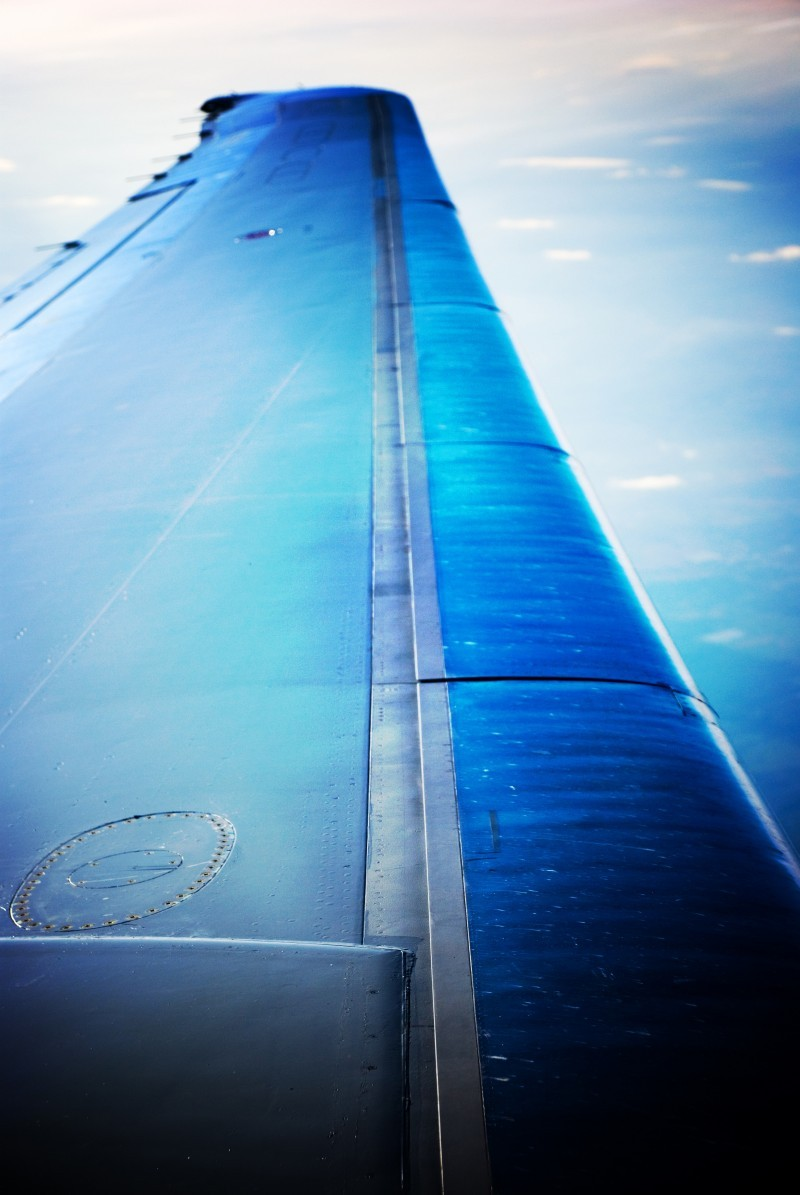 The wing of the airplane as I flew back on Easter.