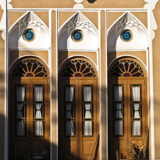 Hotel windows in Yazd, Iran