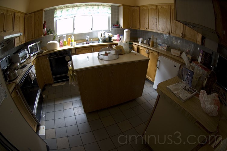 kitchen through a fisheye lens