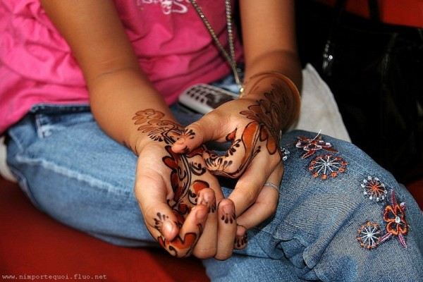 Henna, painting, body art, hands, young girl, weed