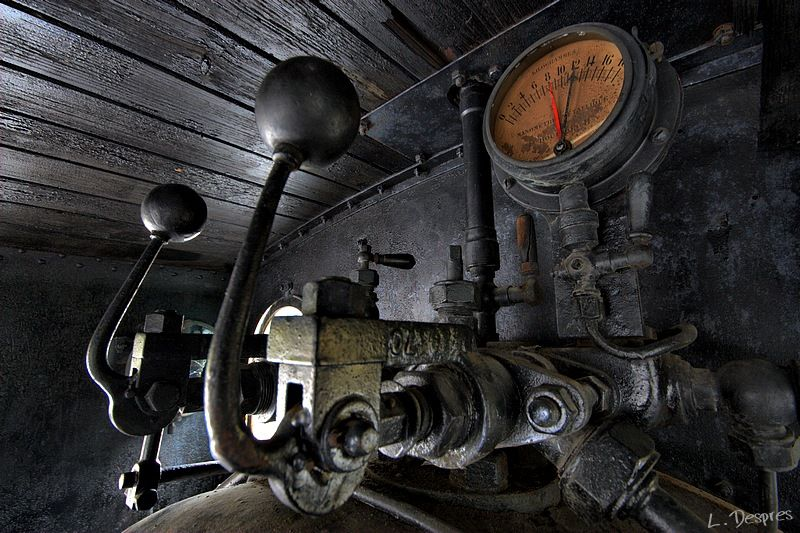 interior of an old steam locomotive