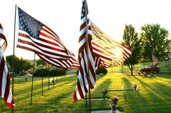sunlit american flag