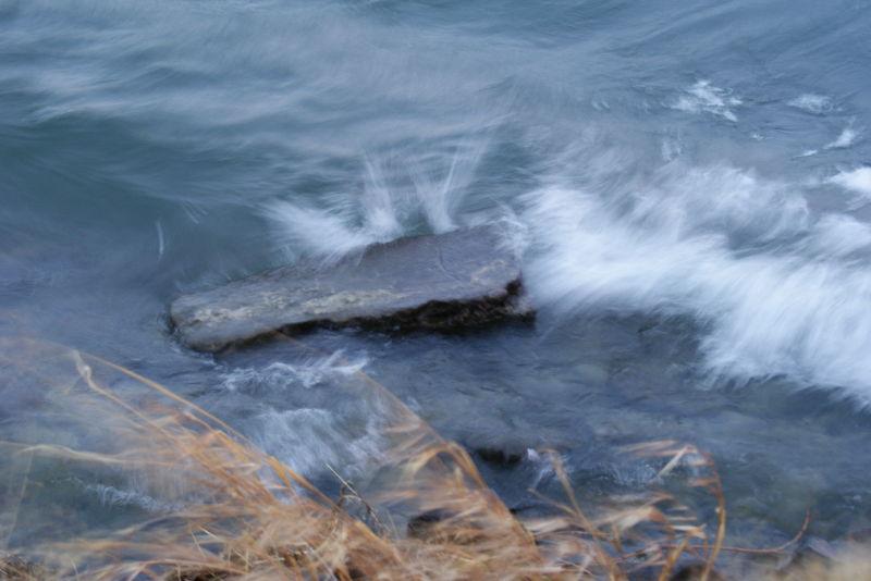 crashing against the shore