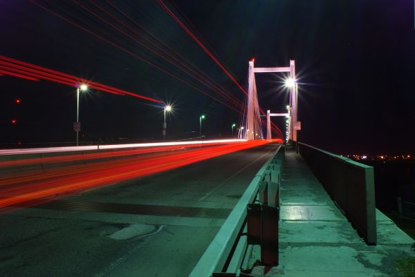 taillights over the cable bridge