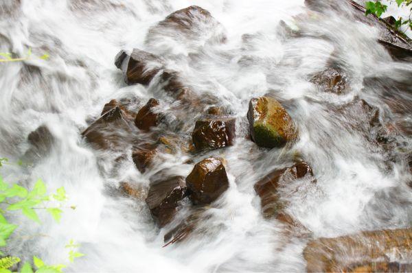 rushing around the rocks