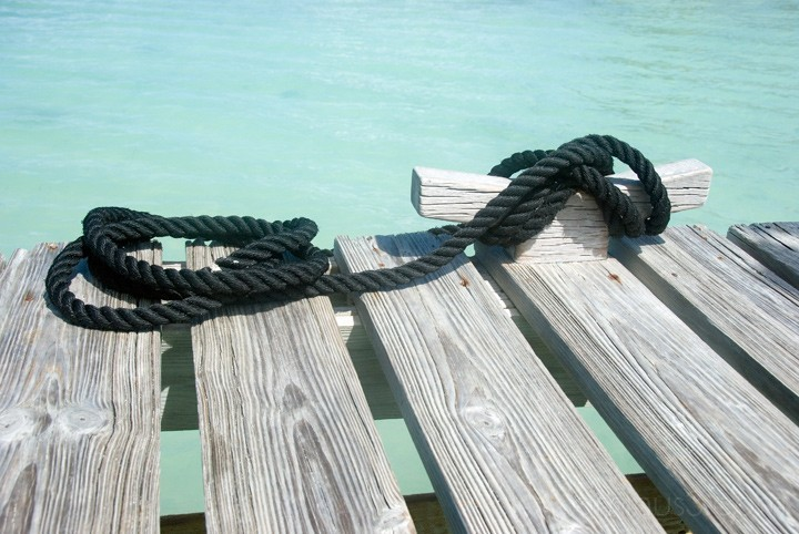 Wooden Cleat with Black Rope - Anegada, BVI