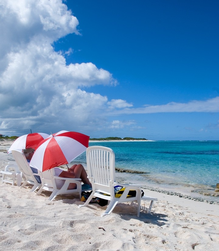 Anegada, BVI - Red and White Umbrellas