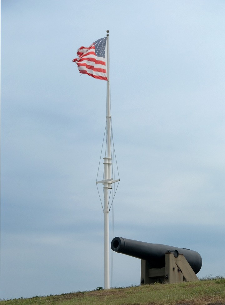 Emerald Isle, NC - Fort Macon Flag and Cannon