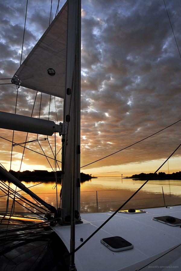 Ship's Mast at Sunset