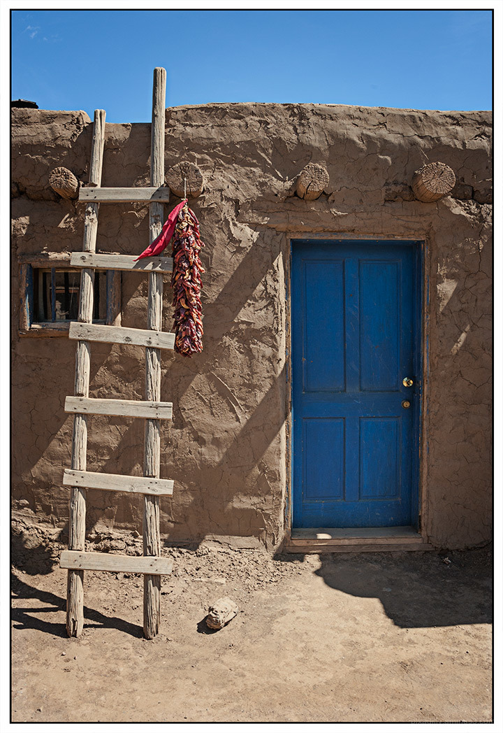 Taos Pueblo - Blue Door and Ladder