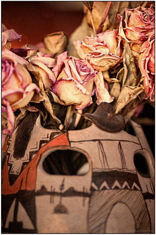 Ceramics:  Indian Vase with Roses