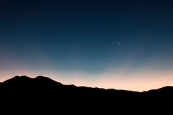 Taos Mountain and Crescent Moon