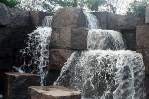 waterfall representing war at FDR memorial, DC