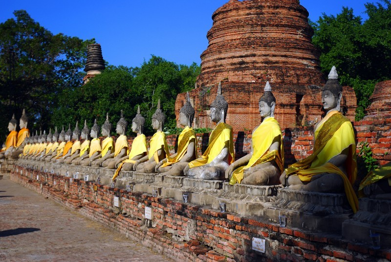 Line Of Budha Statues at Ayutthaya, Thailand