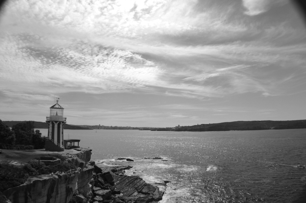 Lighthouse by the sea (b/w)