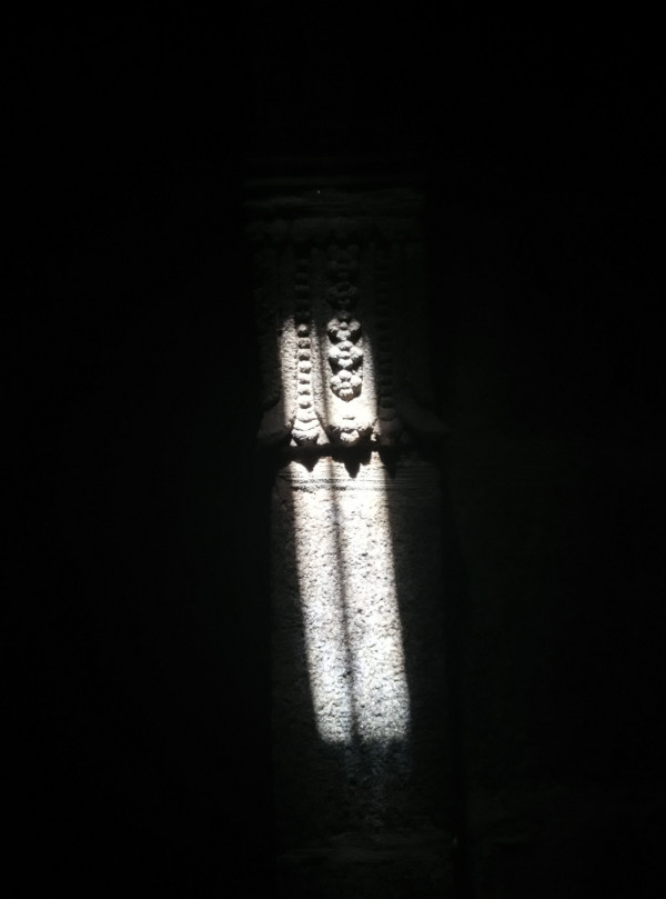 Sunlight on temple wall