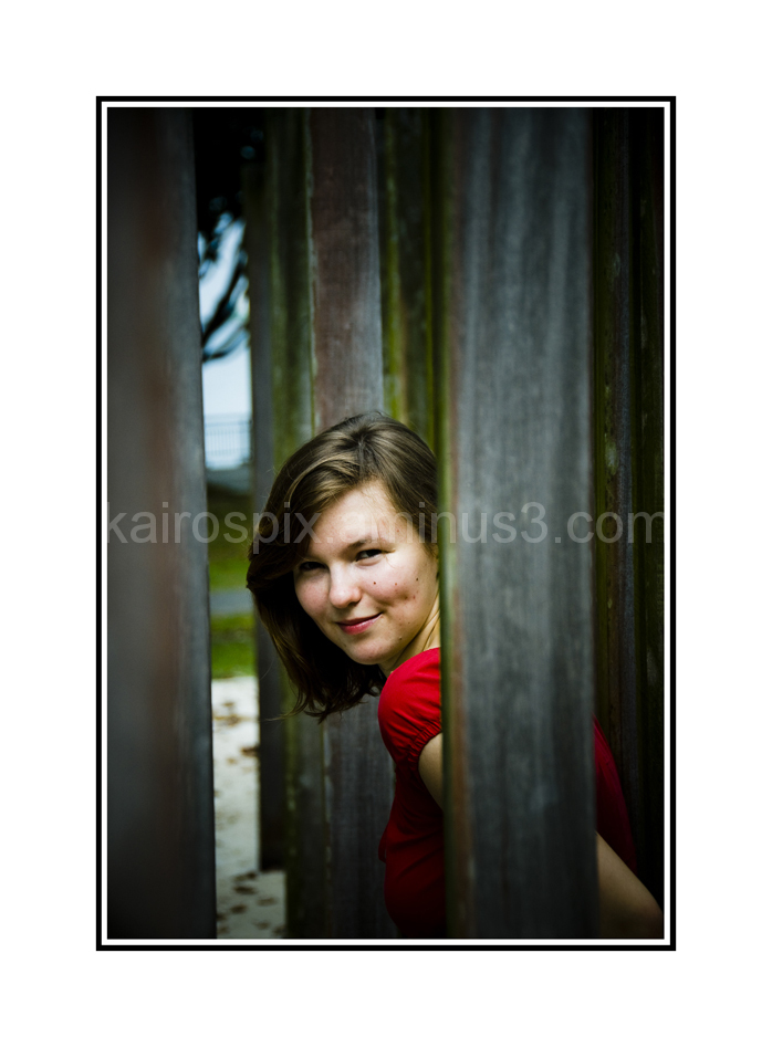 Posing amongst the wooden posts #9...