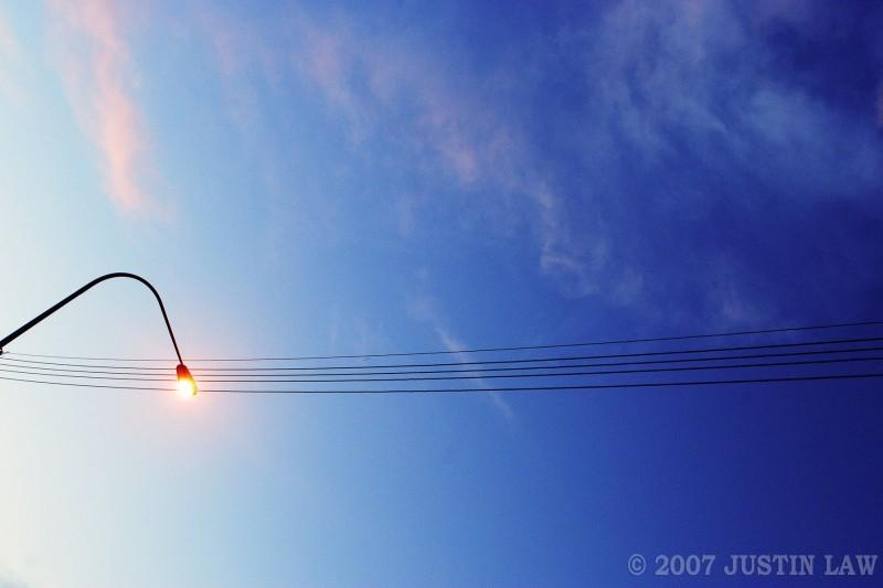 street lamp at dusk