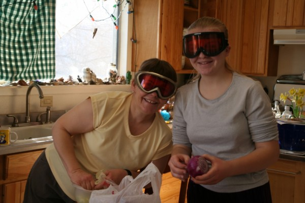Protective eyegear while cutting onions