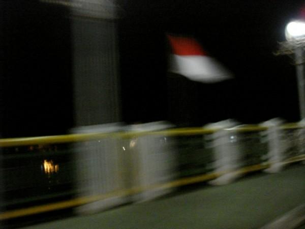 Indonesian Flag Over a Banda Aceh Bridge