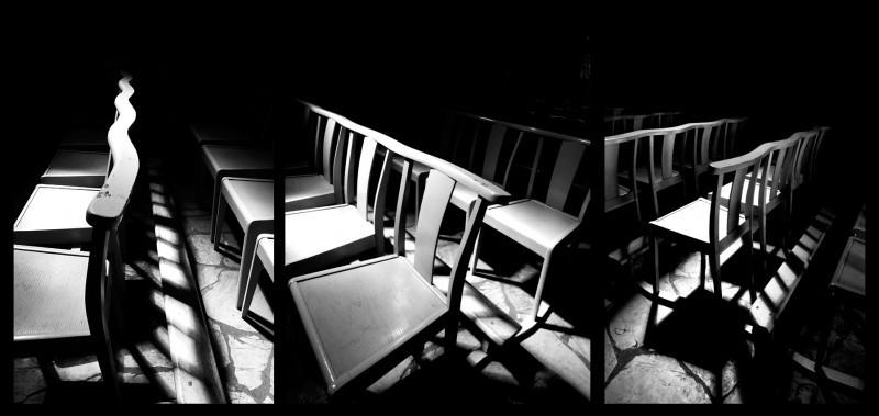 chaises, chairs, church, eglise, nb, black and whi