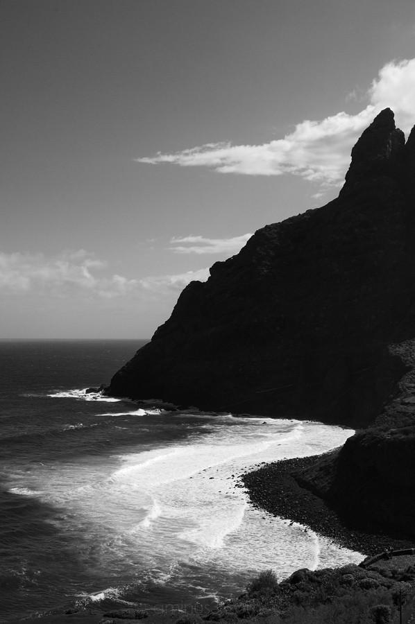 Coastal cliffs, black & white image