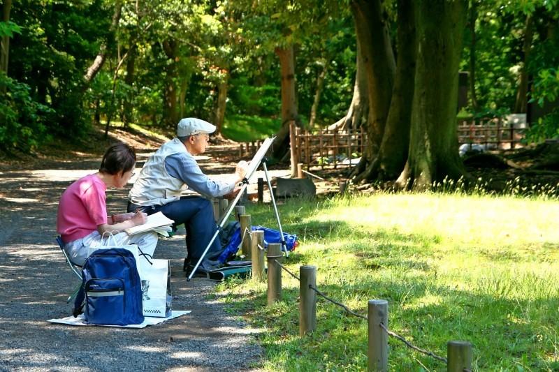 Painters. Hama Rikyu Garden, Tokyo